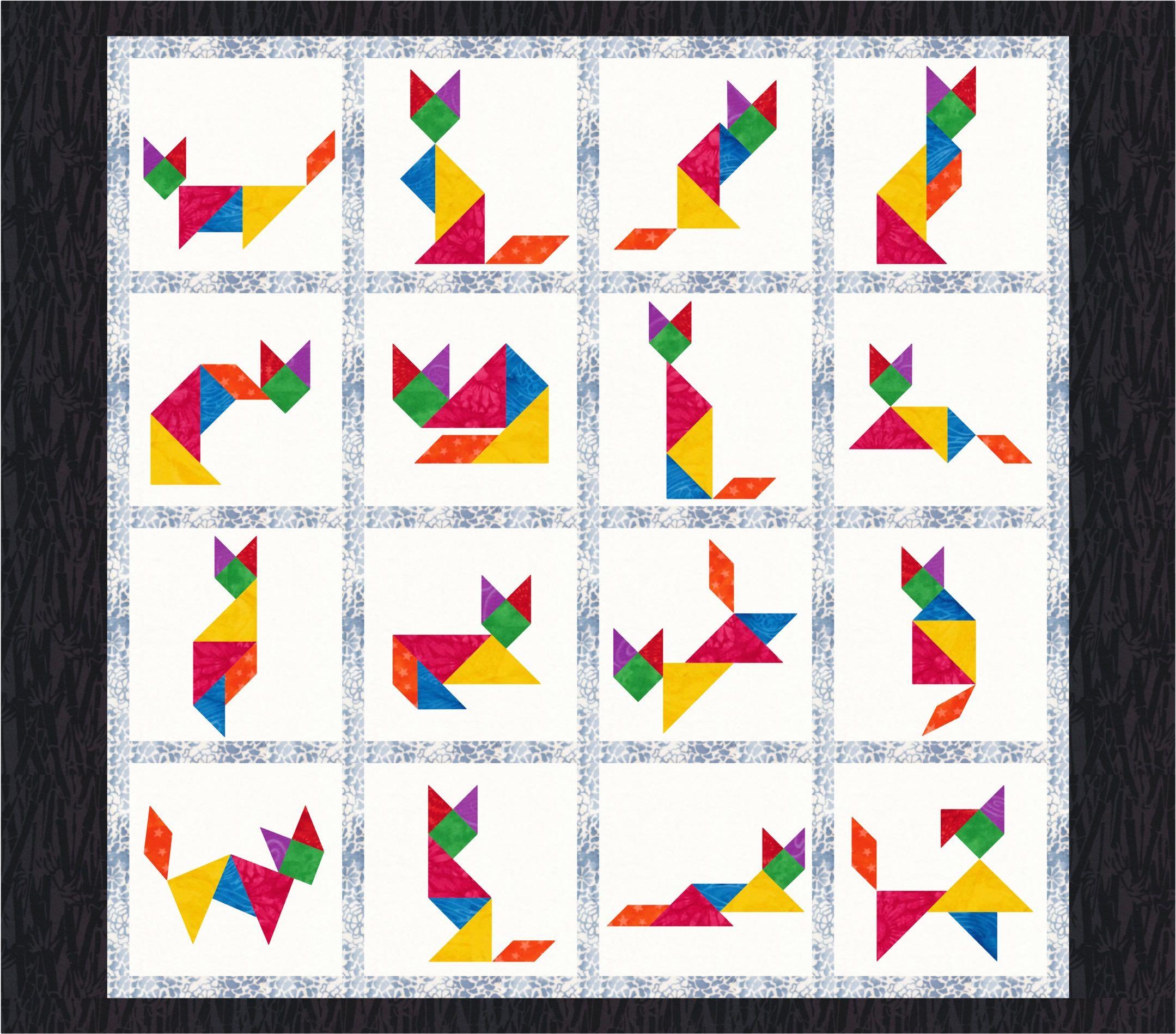Tangram Cats 16 Quilt Block Patterns Pdf Download